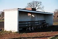 Dugout at Alveston FC Football Ground, Home Guard Club, Warwickshire, pictured on 1st January 1995