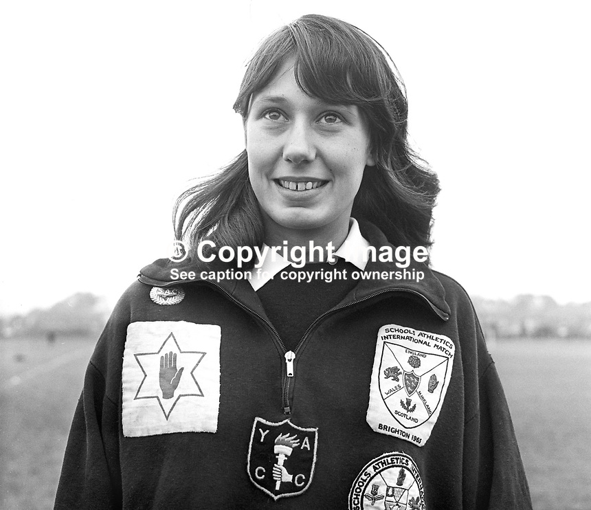 Adrienne Lynch, athlete, runner, quarter mile, half mile, Belfast, N Ireland, October, 1967, 196710000112a<br />