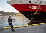 Hurtigruten ferry ship Nordlys arriving at Tromso, Norway