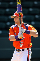 Outfielder Joe Costigan (5) of the Clemson Tigers prior to the Reedy River Rivalry game against the South Carolina Gamecocks on March 1, 2014, at Fluor Field at the West End in Greenville, South Carolina. South Carolina won, 10-2.  (Tom Priddy/Four Seam Images)