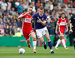 Adam Forshaw of Middlesbrough tussles with Paul Coutts of Sheffield Utd during the Championship match at the Riverside Stadium, Middlesbrough. Picture date: August 12th 2017. Picture credit should read: Simon Bellis/Sportimage