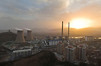 Pollution at coal-fired Jingneng power station in Beijing's western suburbs at sunset..01 Mar 2008