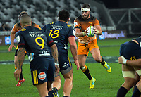 Marcos Kremer takes a pass during the Super Rugby match between the Highlanders and Jaguares at Forsyth Barr Stadium in Dunedin, New Zealand on Saturday, 11 May 2019. Photo: Dave Lintott / lintottphoto.co.nz