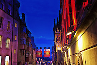 Late evening view down the Royal Mile in Edinburgh.
