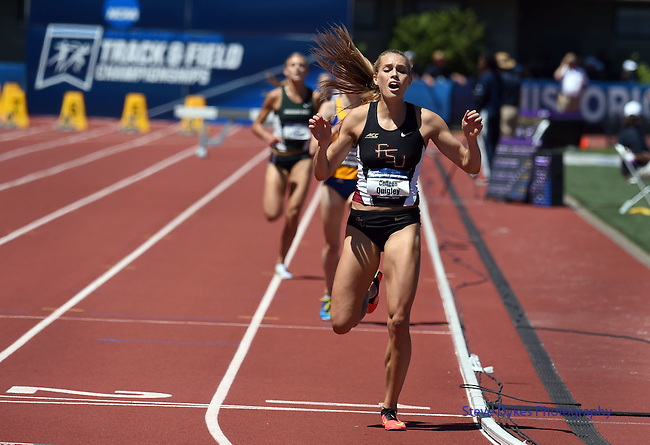13 JUNE 2015: Colleen Quigley of Florida State crosses the finish line to win the Women's 3000 meter Steeplechase during the Division I Men's and Women's Outdoor Track & Field Championship held at Hayward Field in Eugene, OR. Quigley won the event in a time of 9:29.32. Steve Dykes/ NCAA Photos