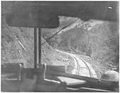 View of the RGS roadbed through the windshield of an unidentified Goose.<br /> RGS