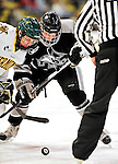 5 February 2011: Providence College Friar center Derek Army, a Freshman from North Kingstown, R.I. faces off against University of Vermont Catamount forward Matt White, a Freshman from McMurray, PA, at Gutterson Fieldhouse in Burlington, Vermont. The Catamounts defeated the Friars 7-1 in the second game of their weekend series. Mandatory Credit: Ed Wolfstein Photo