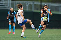 Allston, MA - Saturday, May 07, 2016: Boston Breakers midfielder Angela Salem (26) and Chicago Red Stars forward Christen Press (23) during a regular season National Women's Soccer League (NWSL) match at Jordan Field.