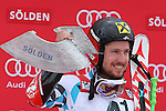 Alpine Ski World Cup Opening. Marcel Hirscher in action at the Men's Giant Slalom in Solden on October 23, 2016.