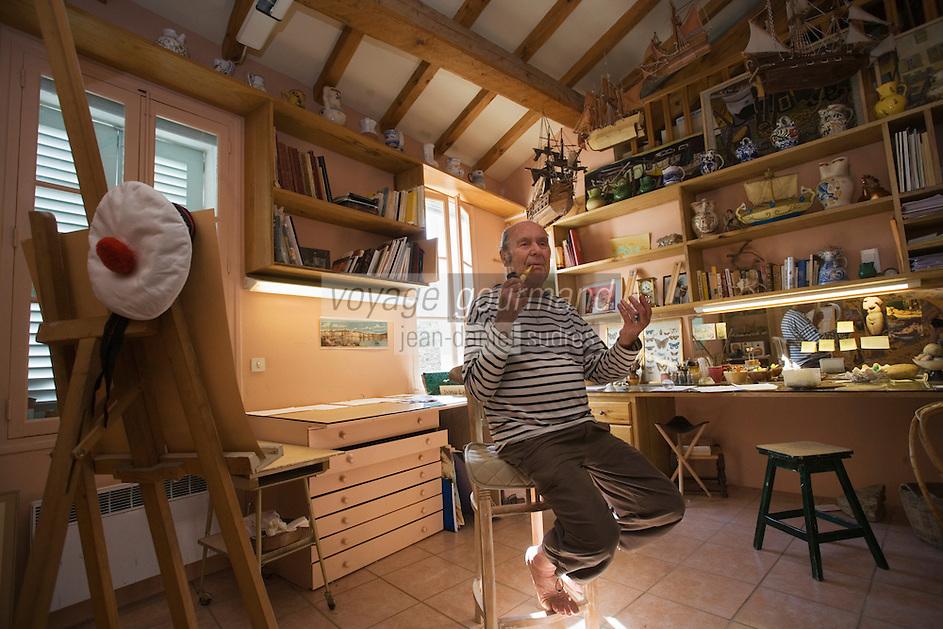 Europe/Provence-Alpes-Côte d'Azur/83/Var/Saint-Tropez: Dany Lartigue ,peintre,  fils de Jacques-Henri Lartigue  dans son Atelier de Peinture situé à la Maison des Papillons