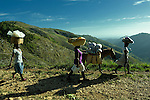 Women walking to a weekly market in Despagne, an isolated village in southern Haiti where the Lutheran World Federation has been working with residents to improve their quality of life.