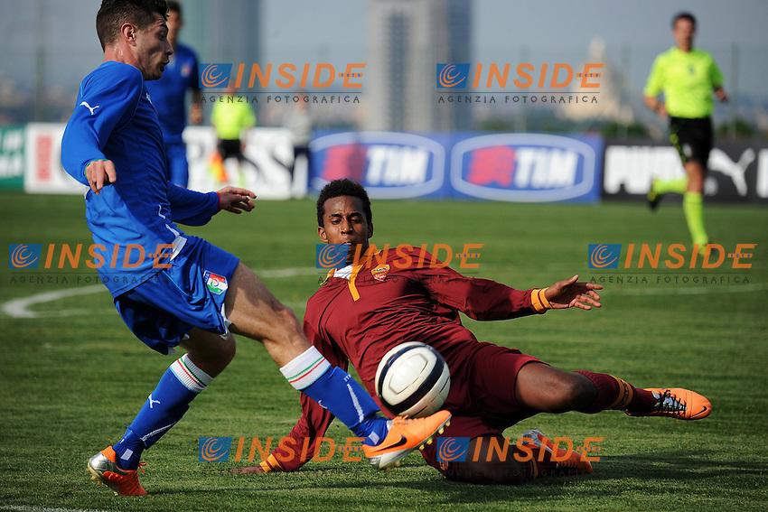 Stefano Sabelli Italia, Elio Capradossi Roma <br /> Roma 25-02-2014 - Football Calcio Amichevole Italia Under 21 - Roma Primavera - Foto Andrea Staccioli / Insidefoto