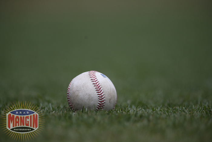 SAN FRANCISCO, CA - MAY 25:  Detail of a Major League Baseball sitting in the grass during the game between the San Diego Padres and San Francisco Giants at AT&T Park on Wednesday, May 25, 2016 in San Francisco, California. Photo by Brad Mangin