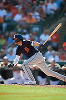 Detroit Tigers designated hitter JaCoby Jones (21) grounds out during a Grapefruit League Spring Training game against the Baltimore Orioles on March 3, 2019 at Ed Smith Stadium in Sarasota, Florida.  Baltimore defeated Detroit 7-5.  (Mike Janes/Four Seam Images)