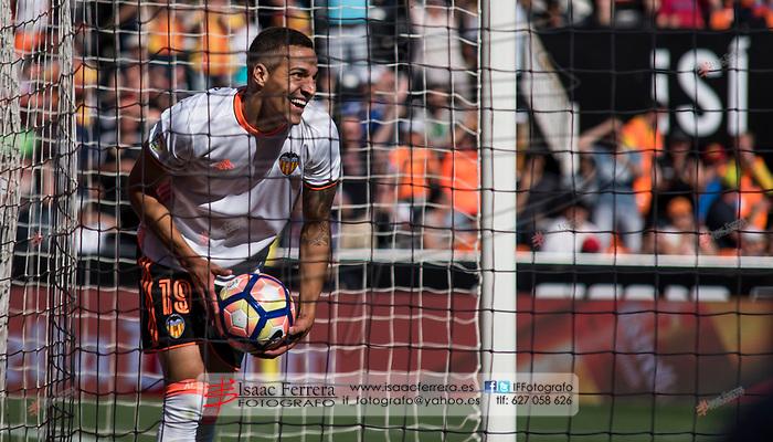 La Liga Santander 16/17.<br /> Valencia CF (4)vs(1) CA Osasuna.<br /> Mestalla Stadium.<br /> May 7, 2017.<br /> Valencia, Valencia - Spain.