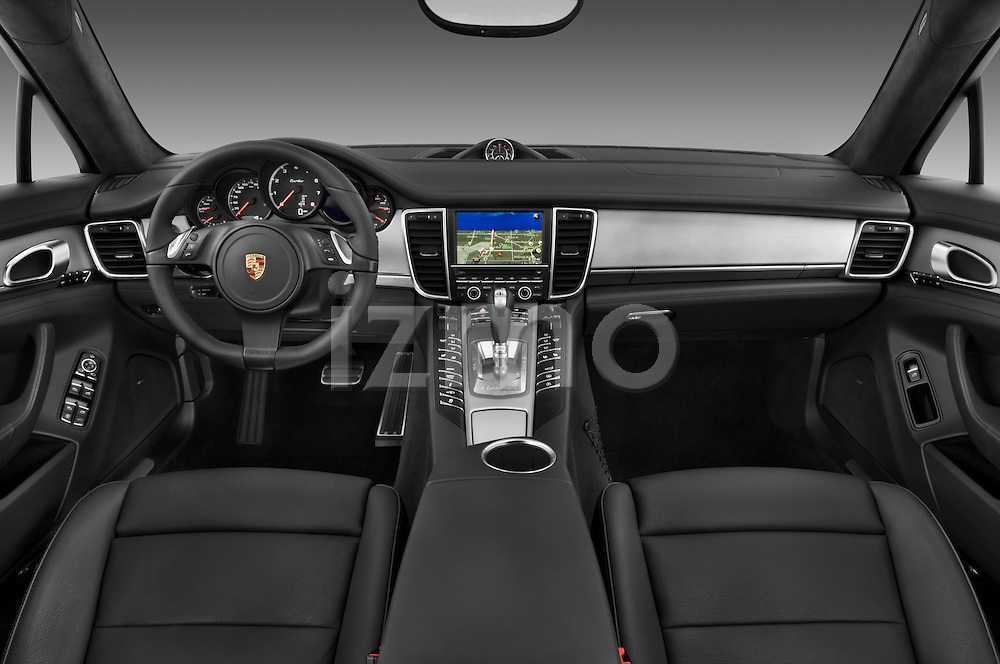 Straight dashboard view of a 2010 Porsche Panamera Turbo.
