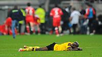 4. November 2011: Duesseldorf, Esprit-Arena: Fussball 2. Bundesliga, 14. Spieltag: Fortuna Duesseldorf - SG Dynamo Dresden: Dresdens Mickael Pote ist nach der Niederlage sauer auf seine Mitspieler und liegt auf dem Rasen.