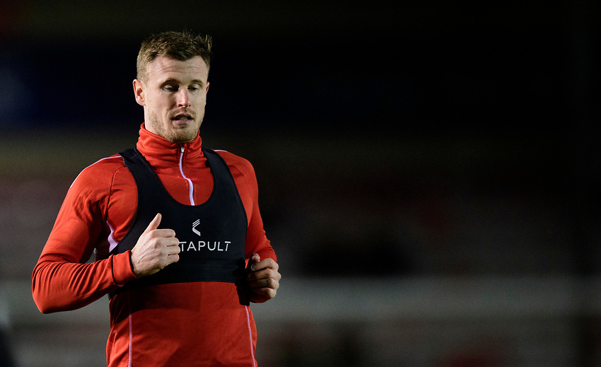 Lincoln City's Michael O'Connor during the pre-match warm-up<br /> <br /> Photographer Chris Vaughan/CameraSport<br /> <br /> The EFL Sky Bet League Two - Lincoln City v Yeovil Town - Friday 8th March 2019 - Sincil Bank - Lincoln<br /> <br /> World Copyright © 2019 CameraSport. All rights reserved. 43 Linden Ave. Countesthorpe. Leicester. England. LE8 5PG - Tel: +44 (0) 116 277 4147 - admin@camerasport.com - www.camerasport.com