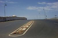 An empty street in the capital Rabat