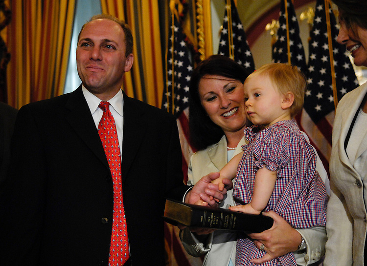 WASHINGTON, DC - May 07: Rep. Steve Scalise, R-La., during a mock swearing in for the cameras with his wife, Jennifer, daughter Madison, and House Speaker Nancy Pelosi, D-Calif., after he was sworn in on the House floor. During his official swearing in, he held his 13-month-old daughter Madison in his arms, and took the oath of office Wednesday as the House's newest and 434th member. Scalise handily won a special election March 1 in Louisiana's 1st District, providing Republicans with a rare bright spot in a year of electoral setbacks. He takes the seat vacated by former Rep. Bobby Jindal, a fellow Republican who was elected Louisiana governor late last year. The 42-year-old computer science graduate from Louisiana State University and veteran of a dozen years in his state's legislature used his first remarks in the well of the House to thank Congress for the billions of dollars in hurricane recovery funds it has sent to Louisiana. ( Photo by Scott J. Ferrell/Congressional Quarterly)