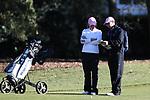 WILMINGTON, NC - OCTOBER 27: Penn State's Megan McLean (right), with assistant coach Andrew Breon (left), on the 11th hole. The first round of the Landfall Tradition Women's Golf Tournament was held on October 27, 2017 at the Pete Dye Course at the Country Club of Landfall in Wilmington, NC.