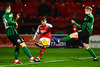 Fleetwood Town's Conor McAleny shoots under pressure from Coventry City's Jack Grimmer and Tom Bayliss<br /> <br /> Photographer Richard Martin-Roberts/CameraSport<br /> <br /> The EFL Sky Bet League One - Fleetwood Town v Coventry City - Tuesday 27th November 2018 - Highbury Stadium - Fleetwood<br /> <br /> World Copyright &not;&copy; 2018 CameraSport. All rights reserved. 43 Linden Ave. Countesthorpe. Leicester. England. LE8 5PG - Tel: +44 (0) 116 277 4147 - admin@camerasport.com - www.camerasport.com
