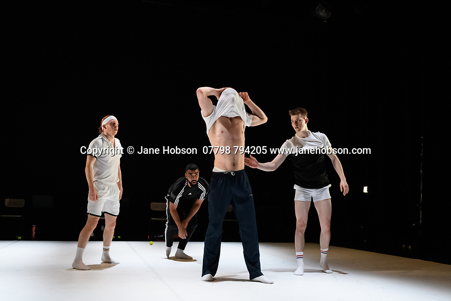 """2Faced Dance present a triple bill, entitled """"EVERYTHING (but the girl)"""", in the Patrick Studio, Birmingham Hippodrome. The company celebrate their 20th anniversary with this world premiere. The piece shown is: """"The Qualies"""", choreographed by Fleur Darkin. The dancers are: Louis Parker-Evans, Cameron Woolnough, Will Hodson, John Robinson."""