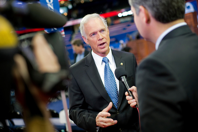 UNITED STATES - AUGUST 26: Sen. Ron Johnson, R-Wis., is interviewed by CNN before the start of the 2012 Republican National Convention. (Photo By Chris Maddaloni/CQ Roll Call)