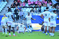 Joy for Yannick Nyanga of Racing 92 as his side wins the European Rugby Champions Cup match between Racing 92 and Leicester Tigers on October 14, 2017 in Colombes, France. (Photo by Dave Winter/Icon Sport)