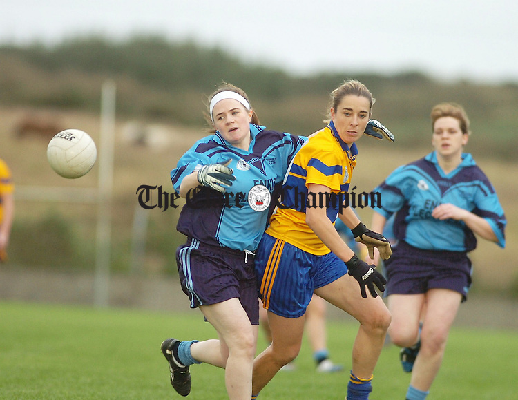 Cooraclares Orla Kelly battles with the Banners Sonya Maher in the Clare Ladies Senior Championship Final in Kilmihill.Pic Arthur Ellis.