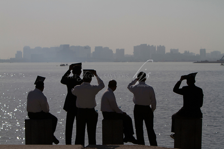 People waiting to watch the National Day air show, Corniche, Doha, Qatar | Dec 10
