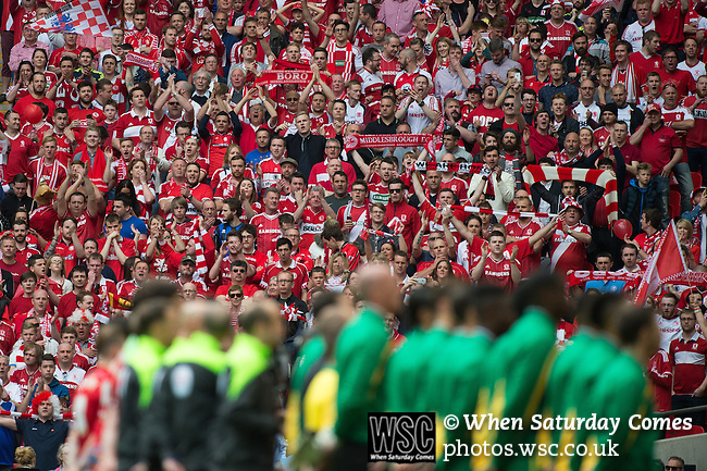 Norwich City 2 Middlesbrough 0, 25/05/2015. Wembley Stadium, Championship Play Off Final. Norwich and Middlesbrough line up before the National Anthem. A match worth £120m to the victors. On the day Norwich City secured an instant return to the Premier League with victory over Middlesbrough in front of 85,656. Photo by Simon Gill.
