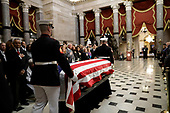 Members of the Military Honor Guard escort the casket during the memorial services for United States Representative Elijah Cummings (Democrat of Maryland), at the US Capitol in Washington, DC, Thursday, October 24, 2019. <br /> Credit: Pablo Martinez Monsivais / Pool via CNP