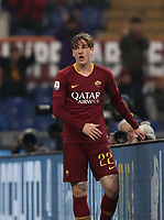Football, Serie A: AS Roma - Bologna FC, Olympic stadium, Rome, February 18, 2019. <br /> Roma's Nicol&ograve; Zaniolo reacts during the Italian Serie A football match between AS Roma and Bologna FC at Olympic stadium in Rome, on February 18, 2019.<br /> UPDATE IMAGES PRESS/Isabella Bonotto
