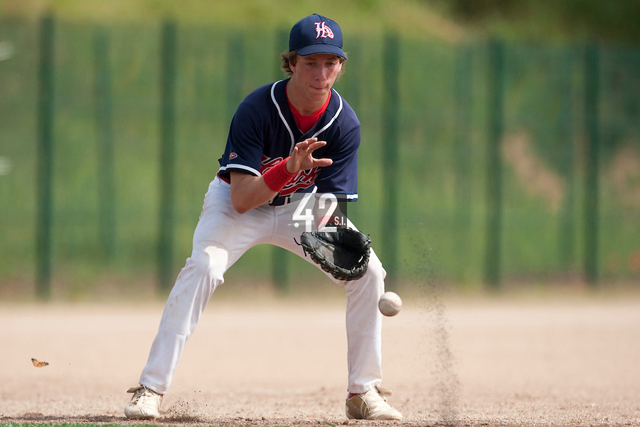 23 May 2009: Romain Leduc of La Guerche eyes the ball during the 2009 challenge de France, a tournament with the best French baseball teams - all eight elite league clubs - to determine a spot in the European Cup next year, at Montpellier, France. Rouen wins 6-2 over La Guerche.