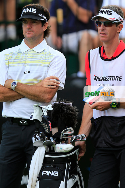 Bubba Watson (USA) and caddy Ted Scott on the 10th tee to start his match during Thursday's Round 1 of the 2013 Bridgestone Invitational WGC tournament held at the Firestone Country Club, Akron, Ohio. 1st August 2013.<br /> Picture: Eoin Clarke www.golffile.ie