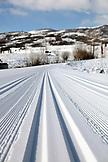 USA, Utah, Midway, Soldier Hollow, detail of the biathlon Nordic ski track