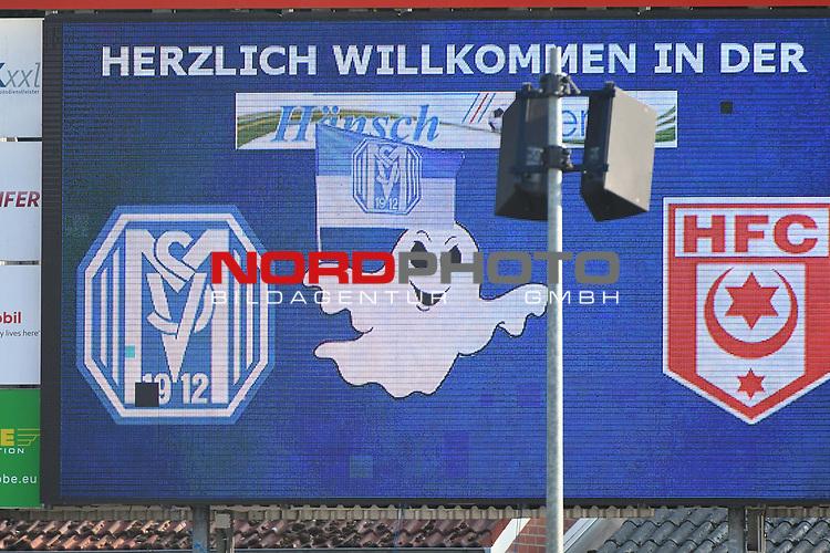 12.06.2020, Hänsch-Arena, Meppen, GER, 3.FBL, SV Meppen vs. Hallescher FC, <br /> <br /> im Bild<br /> Anzeigetafel mit Geist.<br /> <br /> <br /> DFL REGULATIONS PROHIBIT ANY USE OF PHOTOGRAPHS AS IMAGE SEQUENCES AND/OR QUASI-VIDEO<br /> <br /> Foto © nordphoto / Paetzel