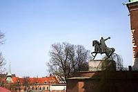Tadeusz Kościuszko Monument at Wawel Castle in Krakow, Poland on April 2, 2016.