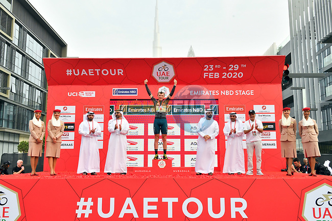 Veljko Stojnic (SER) Vini Zabù-KTM retains the Black Jersey at the end of Stage 4 the Emirates NBD Stage of the UAE Tour 2020 running 173km from Dubai Zabeel Park to Dubai City Walk, Dubai. 26th February 2020.<br /> Picture: LaPresse/Massimo Paolone | Cyclefile<br /> <br /> All photos usage must carry mandatory copyright credit (© Cyclefile | LaPresse/Massimo Paolone)