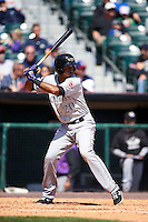 Louisville Bats outfielder Yorman Rodriguez (20) at bat during a game against the Buffalo Bisons on May 2, 2015 at Coca-Cola Field in Buffalo, New York.  Louisville defeated Buffalo 5-2.  (Mike Janes/Four Seam Images)