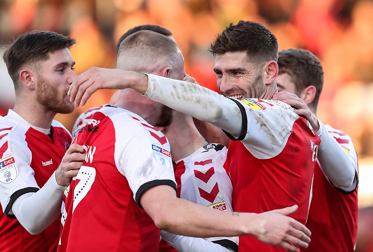 Fleetwood Town's Ched Evans celebrates scoring his side's first goal with his team mates  <br /> <br /> Photographer Andrew Kearns/CameraSport<br /> <br /> The EFL Sky Bet League One - Fleetwood Town v Charlton Athletic - Saturday 2nd February 2019 - Highbury Stadium - Fleetwood<br /> <br /> World Copyright © 2019 CameraSport. All rights reserved. 43 Linden Ave. Countesthorpe. Leicester. England. LE8 5PG - Tel: +44 (0) 116 277 4147 - admin@camerasport.com - www.camerasport.com