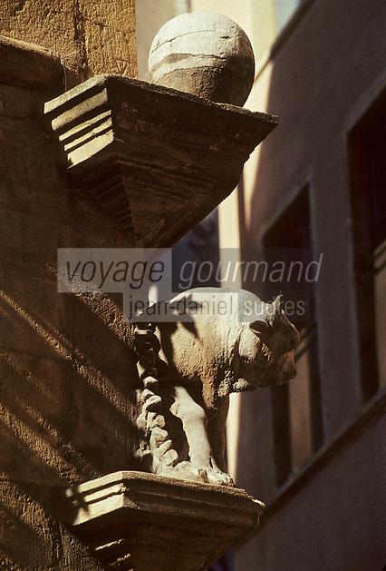 Europe/France/Rhône-Alpes/69/Rhône/Lyon: Vieux Lyon - L'enseigne du Boeuf (l'une des plus ancienne du Vieux-Lyon réalisée par Jean de Bologne) annonce la rue du Boeuf
