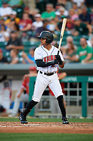 Indianapolis Indians left fielder Jason Martin (27) at bat during a game against the Rochester Red Wings on July 24, 2018 at Victory Field in Indianapolis, Indiana.  Rochester defeated Indianapolis 2-0.  (Mike Janes/Four Seam Images)
