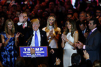 NEW YORK, NY - MAY 3 : U.S. Republican presidential candidate Donald Trump waves to the crowd at the end of his post-election remarks at theTrump Tower on May 3, 2016 in Manhattan, New York. Front-running Republican candidate Trump won Indiana's Republican primary, moving him closer to claiming the party's nomination. Photo by VIEWpress