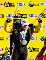 Nov 17, 2019; Pomona, CA, USA; NHRA top fuel driver Steve Torrence celebrates after clinching the 2019 top fuel world championship during the Auto Club Finals at Auto Club Raceway at Pomona. Mandatory Credit: Mark J. Rebilas-USA TODAY Sports