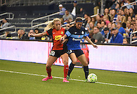 Kansas City, Kansas - Saturday April 16, 2016: Western New York Flash forward Adriana Leon (19) chases FC Kansas City defender Brittany Taylor (13) at Children's Mercy Park. Western New York won 1-0.