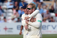 Simon Harmer of Essex (R) claims the wicket of Paul Stirling during Essex CCC vs Middlesex CCC, Specsavers County Championship Division 1 Cricket at The Cloudfm County Ground on 26th June 2017