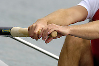 Munich, GERMANY, 2006, FISA, Rowing, World Cup, CAN M2-,  Strokeman, Kevin Light. having wet his hand take a relaxed grip on the oar, at the start of the heats men's pairs on the Olympic Regatta Course, Munich, Thurs. 25.05.2006. © Peter Spurrier/Intersport-images.com,  / Mobile +44 [0] 7973 819 551 / email images@intersport-images.com..[Mandatory Credit, Peter Spurier/ Intersport Images] Rowing Course, Olympic Regatta Rowing Course, Munich, GERMANY