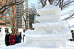 February 3, 2019, Sapporo, Japan - Visitors admire a snow sculpture of a Japanese castle displayed at the 70th annual Sapporo Snow Festival in Sapporo in Japan's nortern island of Hokkaido on Sunday, February 3, 2019. The week-long snow festival will open on February 4 through February 11 and over 2.5 million people are expecting to visit the festival.   (Photo by Yoshio Tsunoda/AFLO) LWX -ytd-